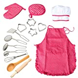 ThinkMax 15 Pezzi Set di Set di Chef di Gioco del pretesto del Costume da Cucina, Grembiule da Cucina con Utensili per Le Ragazze (Rosso)
