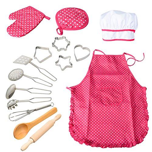 ThinkMax Chef Juego de rol, 15 Piezas Juego de Chef para niños, Juego de Delantal para niños, Delantal para niños, Gorro de Chef y Cubiertos (Rosa)