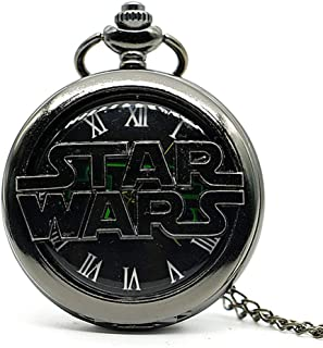Vintage Movie Quartz Pocket Watch for Mens Womens with Necklace Chain&Fob Pocket Chain Christmas Birthday Gifts (Star Wars)