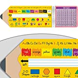 """Really Good Stuff Pencil-Shaped Desktop Helpers (Set of 24) – 18"""" by 5"""" Handy Desktop Reference for Numbers, Letters, Shapes, Colors, and More – Durable Vinyl Self-Adhesive Resource for Student Desks"""