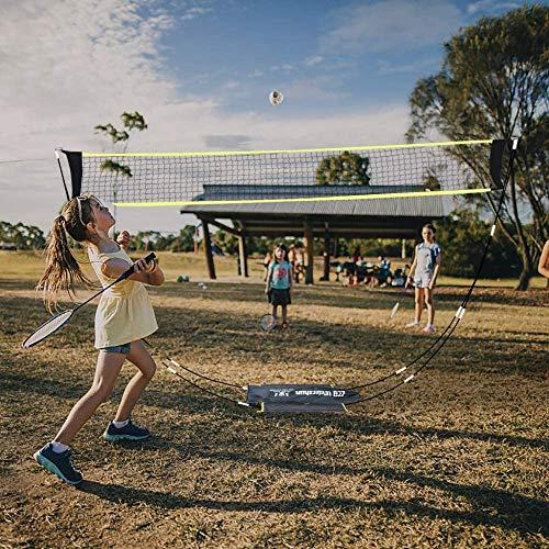 VERONNI Tragbares Badminton-Netz mit Ständer, Tragetasche, faltbar, Volleyball-, Tennis-, Badminton-Netz für Indoor- und Outdoor-Sport, kein Werkzeug oder Heringe erforderlich