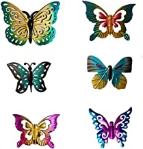 6Pcs/Set Metal Mini Butterfly Fence Hanger Butterfly Wall Art Yard Outdoor Lawn Garden Decor