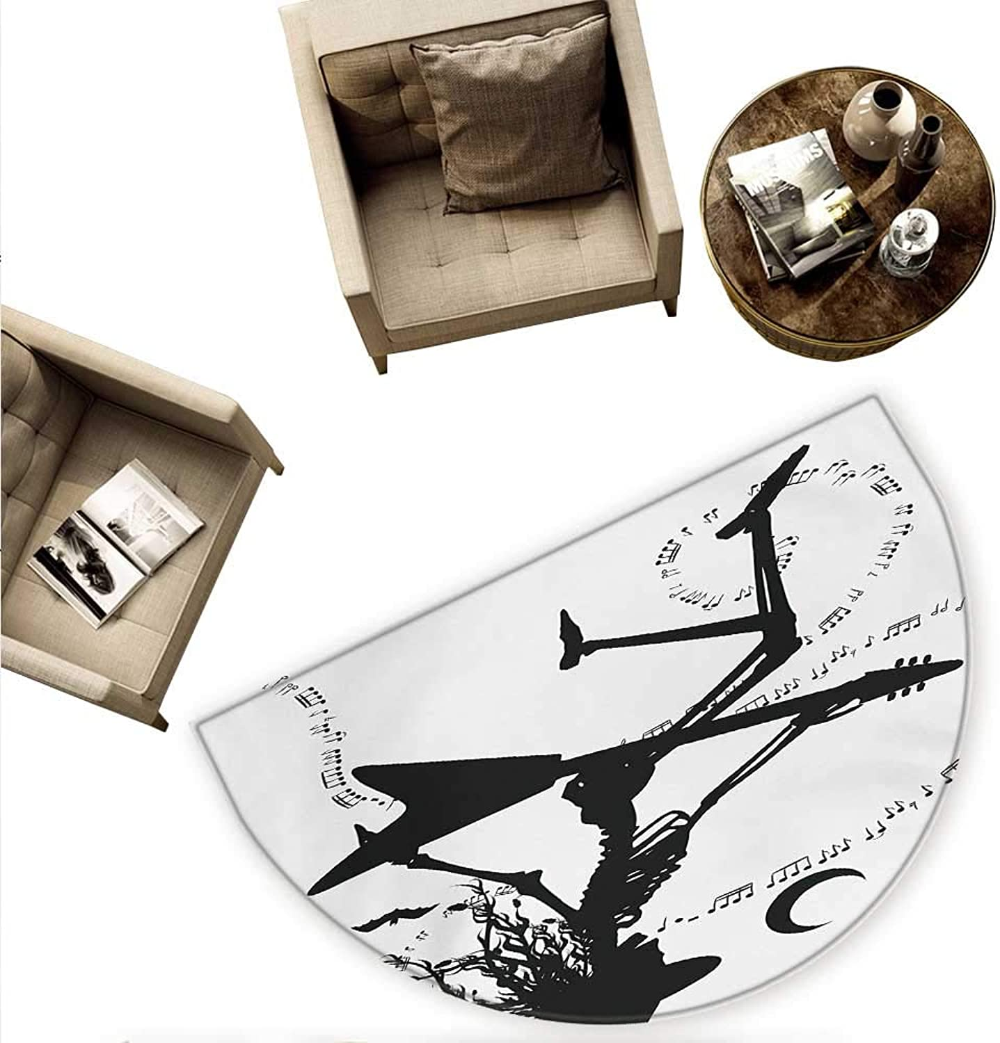 Music Semicircular Cushion Witch Flying on Electric Guitar Notes Bat Magical Halloween Artistic Illustration Entry Door Mat H 78.7  xD 118.1  Black White