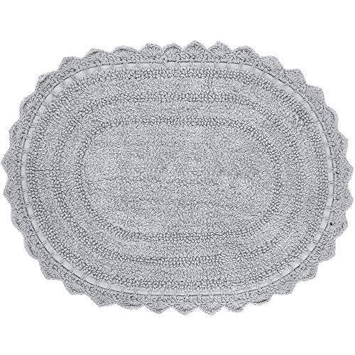 RAJRANG BRINGING RAJASTHAN TO YOU Grauer Badteppich oval - 61x43 cm rutschfeste Badematte aus weicher Baumwolle für Badewanne WC Eingang Wohnaccessoires ovaler Baumwollbadeteppich