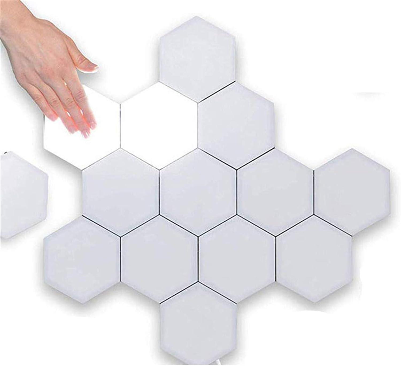 ALOVEWE Hexagonal Wall Light, Touch Sensitive Modular Light,DIY Lights Creative Geometry Assembly LED Night Light (6pcs)