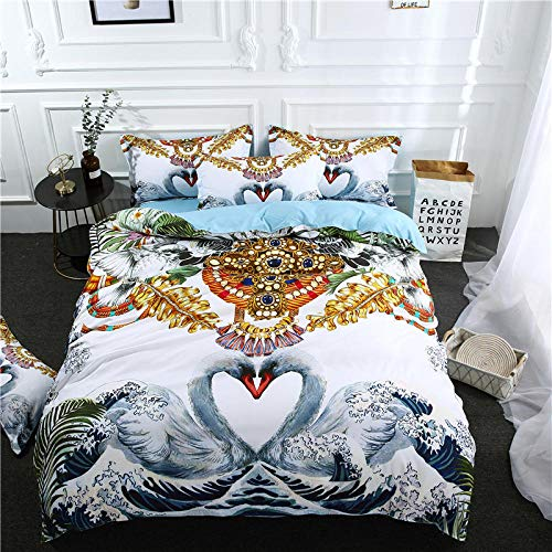 Anvvsovs 3D Duvet Cover Set Single Size 135 X 200 Cm Girls Boys Kids Children Bedding Set Full King Bed Linen Comforter Bedding Sets + 2 Pillowcase 50 X 75 Cm - Creative Animal Swan