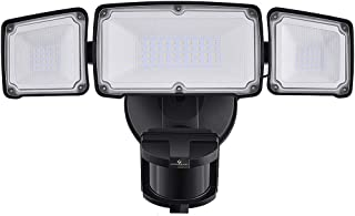LED Security Lights, 35W Motion Sensor Light Outdoor, GLORIOUS-LITE 3 Head Flood Light with Dusk to Dawn Mode, 5500K-6000K, IP 65 Waterproof, ETL Certified for Garage, Yard, Porch, Entryways - Black