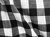 Tela a cuadros de cuadros de lino a cuadros, tela de búfalo, confección, cortinas, muebles para el hogar, 140 cm de ancho (blanco y negro, 1 metro)