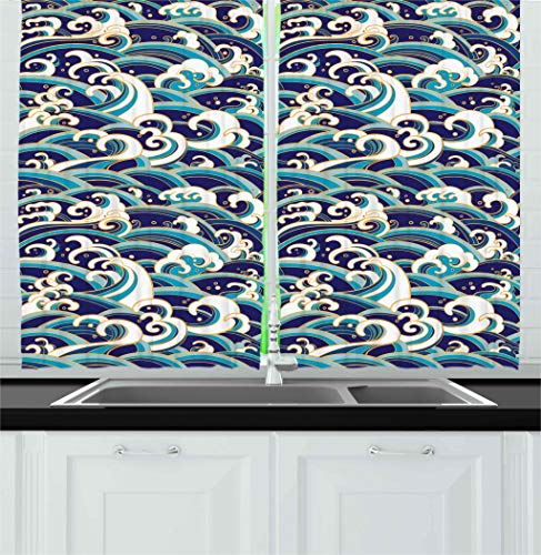 """Ambesonne Nautical Kitchen Curtains, Traditional Oriental Style Ocean Waves Pattern with Foam and Splashes Print, Window Drapes 2 Panel Set for Kitchen Cafe Decor, 55"""" X 39"""", Blue Gold"""
