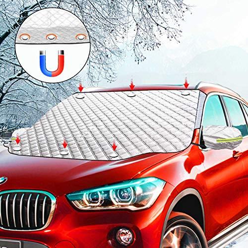 Ezlife Copertura Parabrezza Auto, Protezione Parabrezza Antighiaccio Magnetico Antigelo Impermeabile Anti UV Parasole Telo Parabrezza Auto per la Maggior Parte dei Veicoli 189x116cm