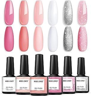 Nude Pink Gel Nail Polish, Modelones White Glitter Light Pink Spring Nail Art Set Soak Off Nail Lamp Nail Varnish Gifts Ho...