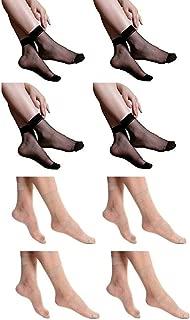 Infispace Women & Girl's Ultra-Thin Transparent Nylon Ankle Length Summer Black & Skin Socks (Pack of 8)