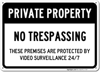 Private Property Sign, No Trespassing Sign, Video Survelliance Sign, 10x14 Rust Free Aluminum UV Printed, Easy to Mount Weather Resistant Long Lasting Ink Made in USA by SIGO SIGNS