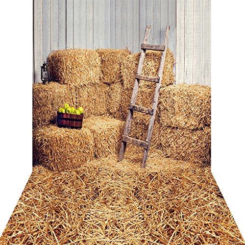 KonPon KP-006 Toile de fond lavable en coton et polyester, toile de fond lavable avec décor de ferme et meule de foin, idéale pour studio photo, séance photo avec nouveau-nés, 150 x 300cm