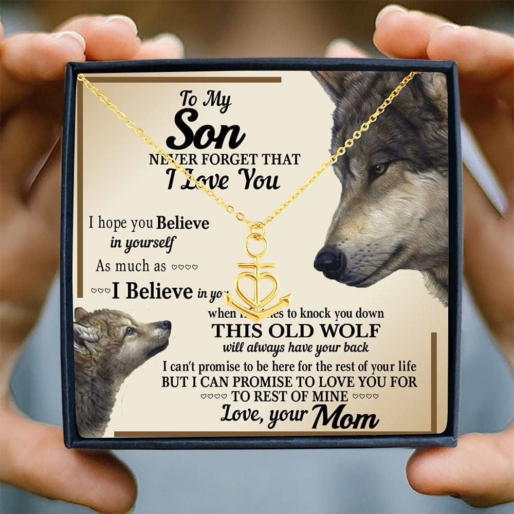 Personalized Necklace Gift - Forever Love Necklace, To My Son (From Mom) Necklace with Message Card, Gift To My Son, Mom To Son Necklace, Son's Birthday, Wolf Edition, Son Birthday Gift