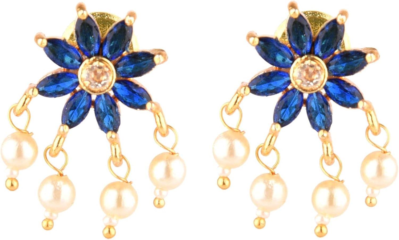 Efulgenz Indian Jewelry SetCZ Cubic Zirconia Faux Pearl Multi Layered Strand Beaded Choker Necklace Earrings Jewelry Set