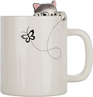 Lily's Home Cute Clinging Grey Tabby Cat Mug for Coffee and Tea. Ceramic 3D Cup for Cat Lovers