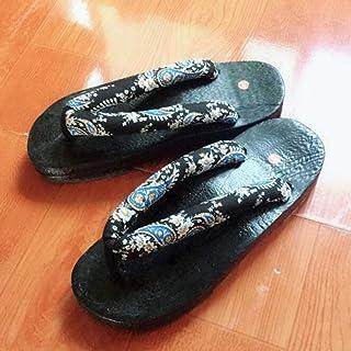 Zapatos japoneses unisex Geta Zuecos chanclas punta redonda hombre mujer Paulownia zapatillas de madera Cosplay sandalias ...