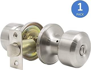 Interior Door Knobs, Satin Nickel Bed and Bath Door Handle, Privacy Keyless Locking Door Knob Set, Modern Durable Door Handleset, 1 Pack