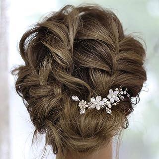 IYOU Horquillas para el cabello con flores de novia diamantes de imitación plateados pinzas para el cabello para novia per...