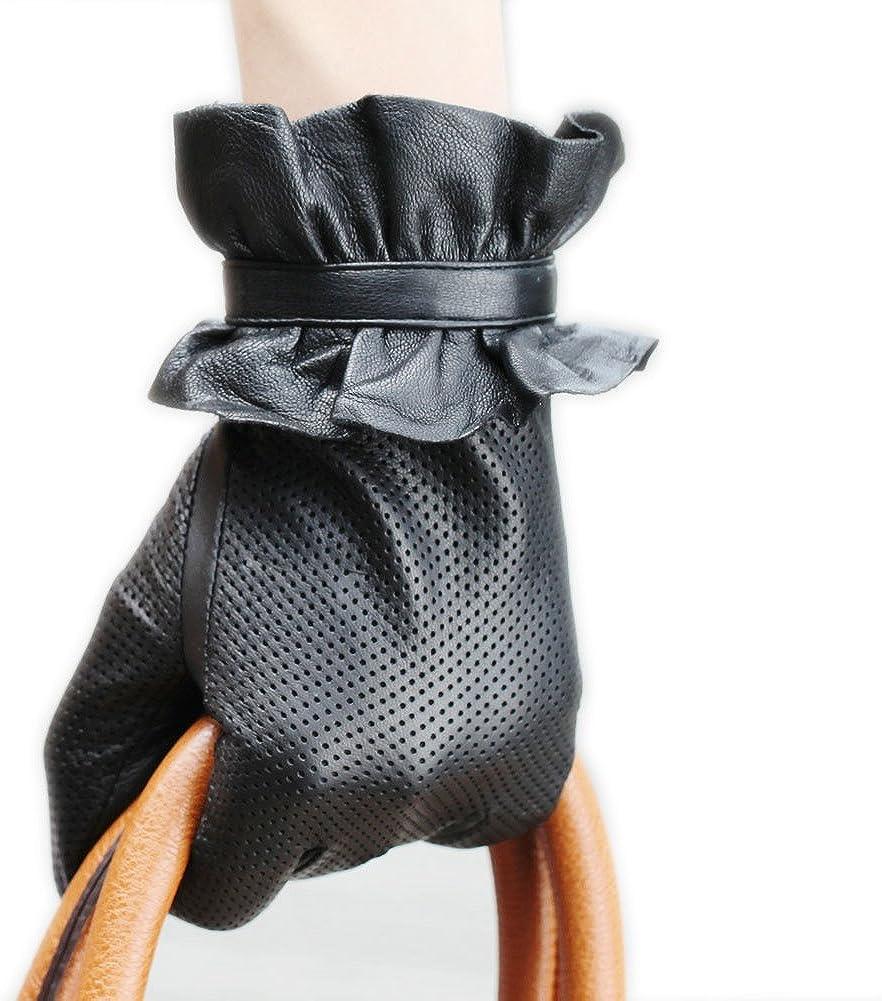 WARMEN Women Genuine Sheepskin Leather Winter Gloves with Elegant Decorated Flower