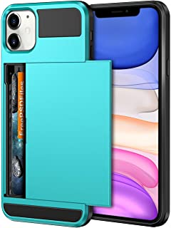 Vofolen Case for iPhone 11 Case Wallet Credit Card Holder ID Slot Sliding Door Hidden Pocket Anti-Scratch Dual Layer Hybrid Bumper Armor Protective Hard Shell Back Cover for iPhone 11 6.1in Sky Blue