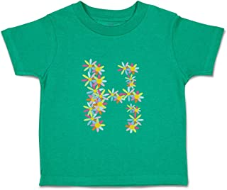 Custom Baby & Toddler T-Shirt Flowers H Letter Alphabet Cotton Boy Girl Clothes