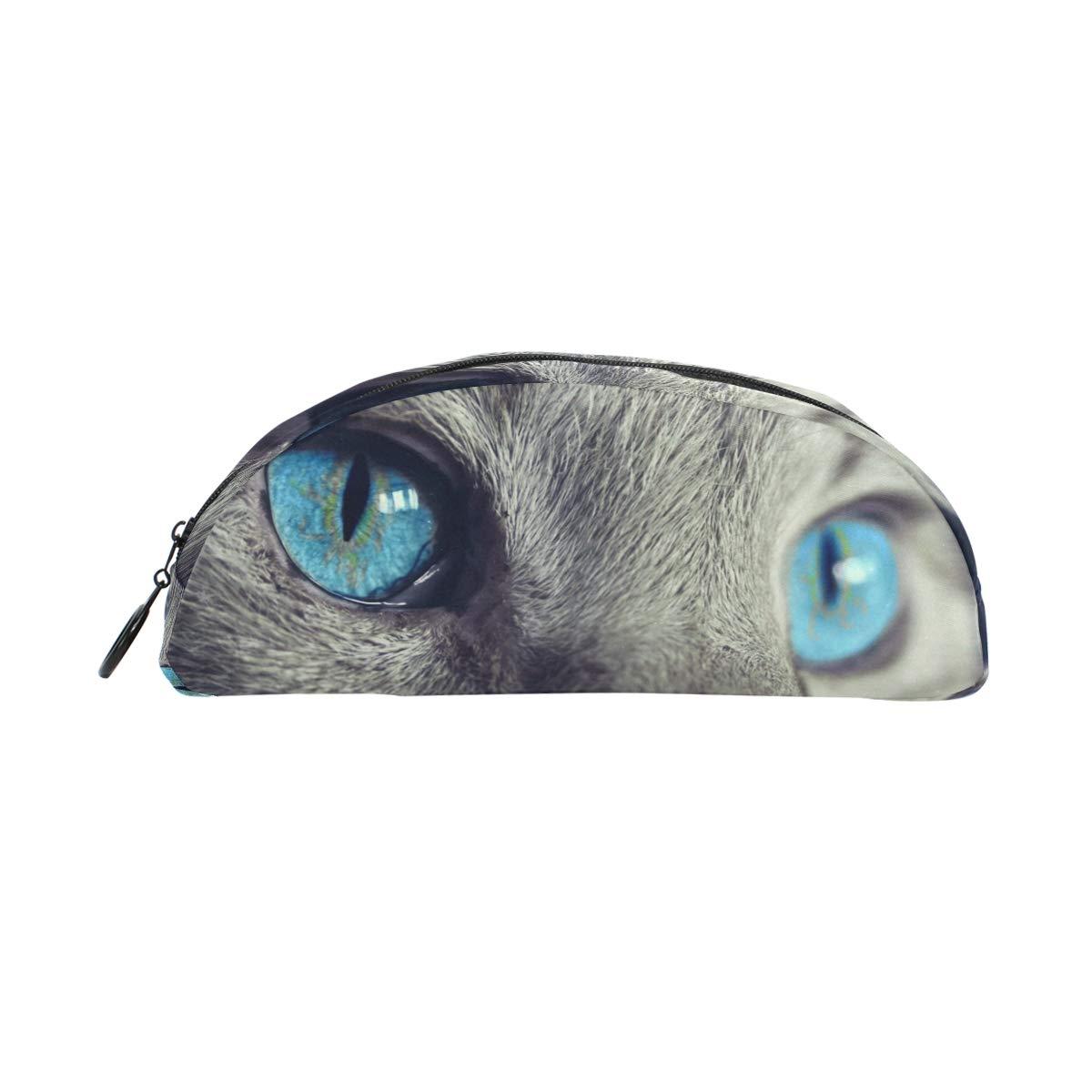 Estuche para lápices de gato con ojos azules para la escuela, para niños, con estuche semicircular, gran capacidad, para maquillaje, cosméticos, oficina, bolsa de viaje: Amazon.es: Oficina y papelería