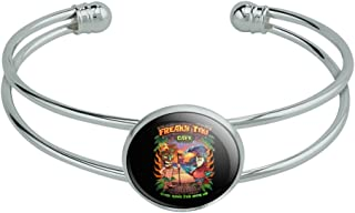 GRAPHICS & MORE Freaky Tiki Cafe Parrot Tropical Beach Island Novelty Silver Plated Metal Cuff Bangle Bracelet