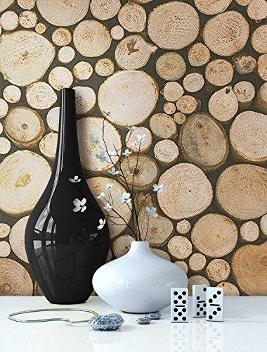 Tapete Holz Muster in Beige Braun | schöne edle Tapete im Brennholz Design | moderne 3D Optik für Wohnzimmer, Schlafzimmer od. Küche inkl.NewroomTapezier-Profibroschüre mit Tipps für perfekteWände