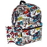 Marvel Spiderman Backpack for Boys Girls Kids - 16' Marvel Comics Spiderman School Backpack Bag Bundle with Avengers Stickers (Spiderman School Supplies)