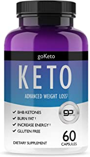 Keto Pills for Women & Men - Weight Loss Supplement - Burn Fat Fast & Lose Unwanted Pounds - Induces Ketosis Quickly - with Patented goBHB Ingredients - 60 Capsules