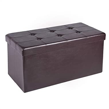 """AuAg Folding Storage Ottoman Bench Faux Leather Toy Box/Chest Window Padded Seat Foot Rest Storage Easy to Assemble (Brown1, 30"""")"""