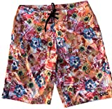 CIRE Polynesia 2 4-Way Stretch Men's Longer Length Boardshort, Orange Floral, 34 US