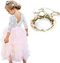 MY-PRETTYGS Girl Sleevless and Long Sleeve Beaded Peony Lace Tutu Dress,Backless Design Flower Dress with Wreath Headband