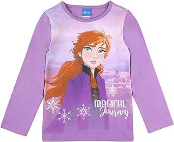 Disney niñas El Reino de Hielo Frozen, Anna Camiseta, T-Shirt, Manga Larga, Violeta
