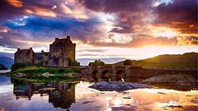 5D DIY Make kit Round Diamond Painting by Number 40X50cm,Eilean Donan Castle Scotland Cross Stitch Wall Holiday Gift