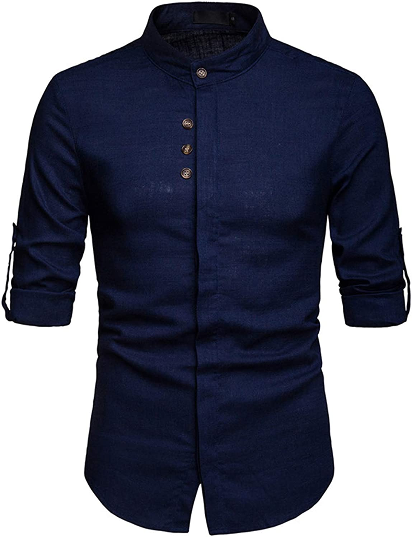 JOLIME Camisa Hombre Lino con Cuello Mao Manga Larga Convertible Casual Formal Trabajo