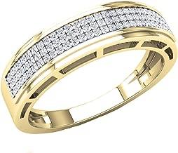Dazzlingrock Collection 0.25 Carat (Ctw) 10K Gold Round White Diamond Men's Hip Hop Anniversary Wedding Band 1/4 CT