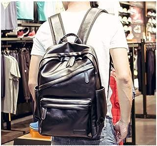 Backpack Men's Casual Shoulder Bag Men's Leather Bag Student Bag Large Capacity Travel Business Computer Bag Suitable for Travel (Color : Brown, Size : S)