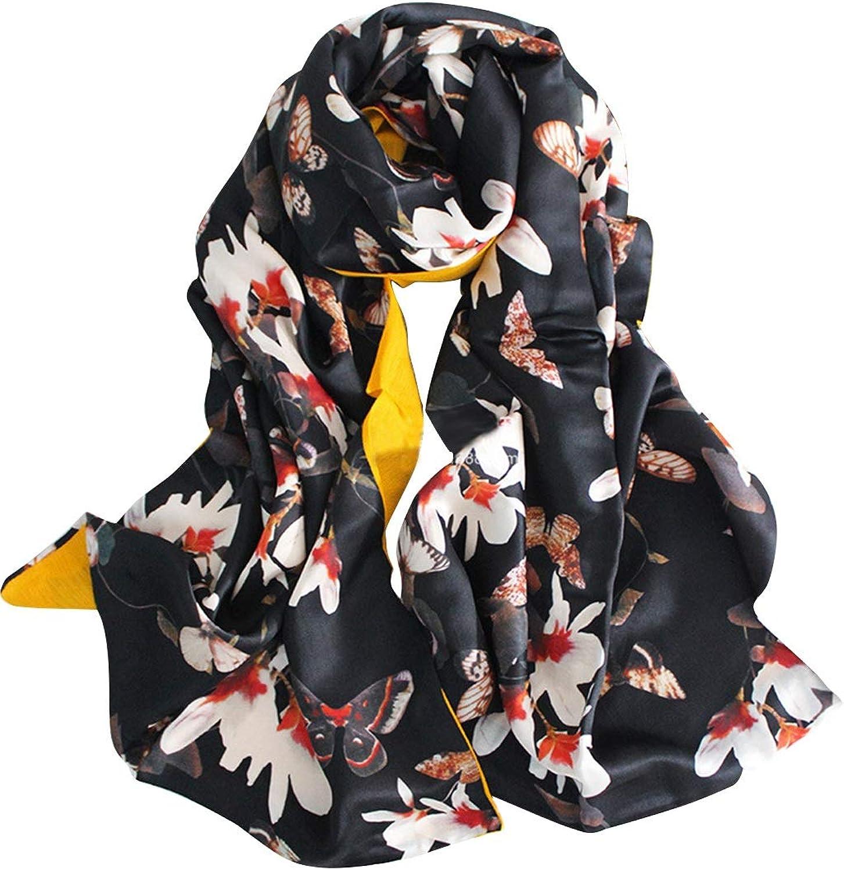 BAOYIT Magnolia Flower Black DoubleSided Silk Scarf Shawlfor Women