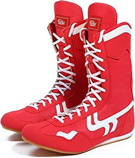 WJFGGXHK Men's Boxing Shoes, Professional Wrestling Boots Breathable Non-Slip High-Top Weightlifting Training Shoes for Un...