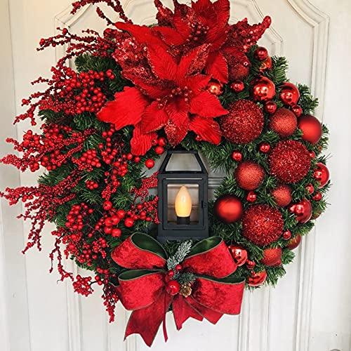 RMBLYfeiye Weihnachtskranz,Weihnachtsmann Türkranz Adventskranz Schneemann Weihnachten Kranz Dekokranz Hängende Tür Wand Verzierung Weihnachtskugelnkranz Fenster Dekoration Weihnachts-Party-Zubehör