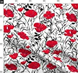 Blume, schwarz, weiß, rot, Blumen, Gras, grafisch, Laub
