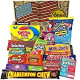 Cesta con American Candy | Caja de caramelos y Chucherias Americanas | Surtido de 18 artículos incluido Reeses, Baby Ruth, Nerds, Hersheys| Golosinas para Navidad Reyes o para regalo