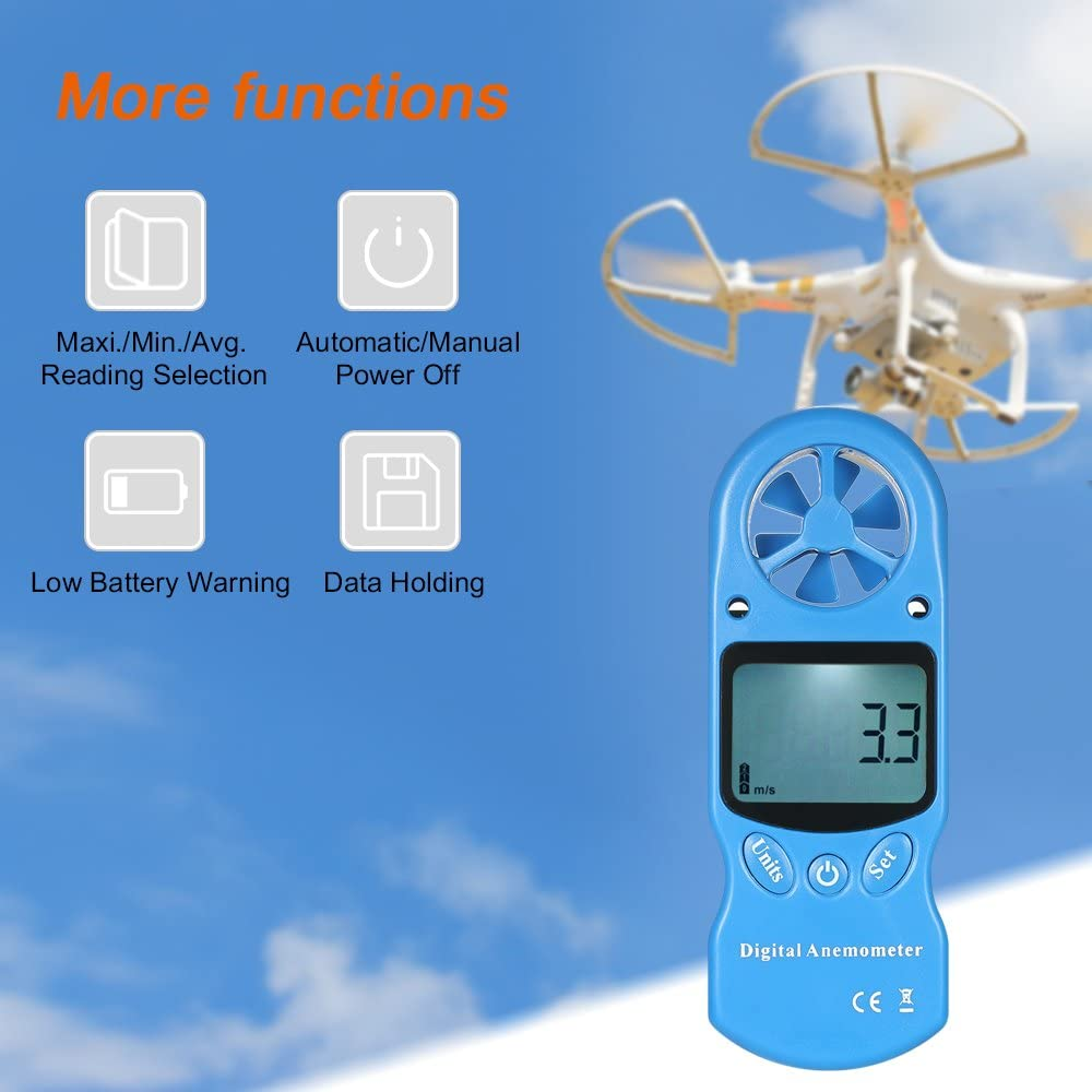 Anemometer KKmoon 8 in 1 Handheld Digital Anemometer Wind Speed//Temperature//Humidity//Wind Chill//Heat Index//Dew Point//Barometric Pressure//Altitude Meter with LCD Backlight-Blue