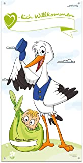 iulias Freude schenken! Großer Banner zur Geburt - Herzlich Willkommen Mama & Baby - ZUM SELBST BESCHRIFTEN: Name & Geburtsdatum - Storch mit Kind - 140 cm hoch