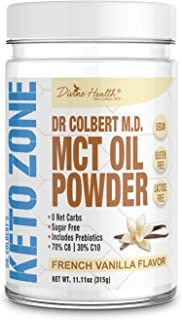 Keto Zone MCT Oil Powder | All Natural Vanilla Flavor | 300 Grams & 30 Day Supply | Recommended in Dr. Colbert's Keto Zone Diet | Ketogenic Creamer | Best MCT Powder | 70% C8 30% C10 | 0 Net Carbs