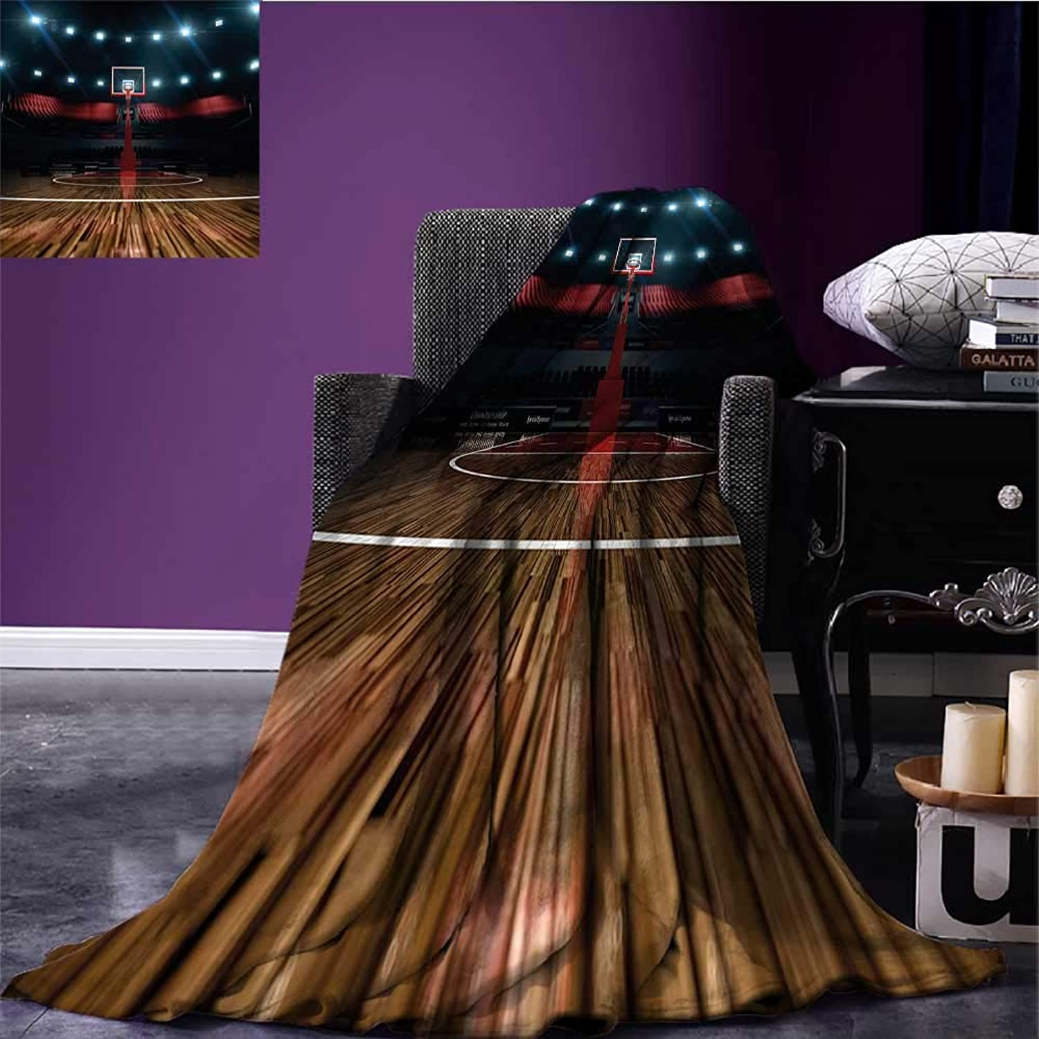 Teen Room Decor Throw Blanket Professional Basketball Arena Stadium Before Game Championship Sports Image Plush Throw Blanket Multicolor Bed or Couch 60 x50