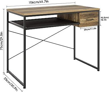 Table d'Etude, avec 1 Tiroirs, Table Bureau, Style Industriel, pour Bureau Salon, Table d'Ordinateur, Marron et Noir, 106 x5